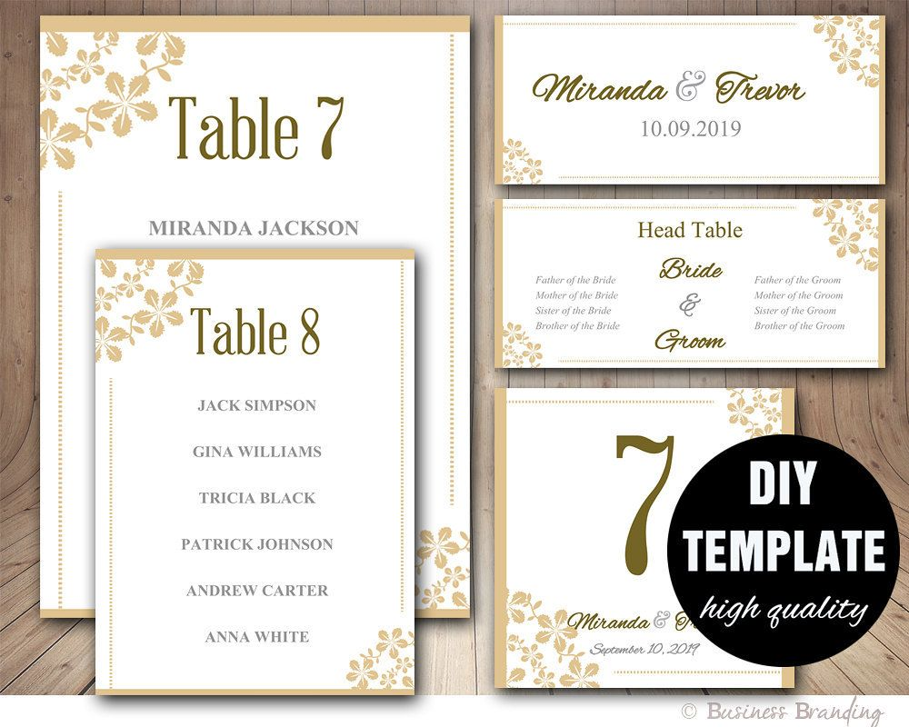 Wedding Seating Chart Template  Wedding Place Card Template