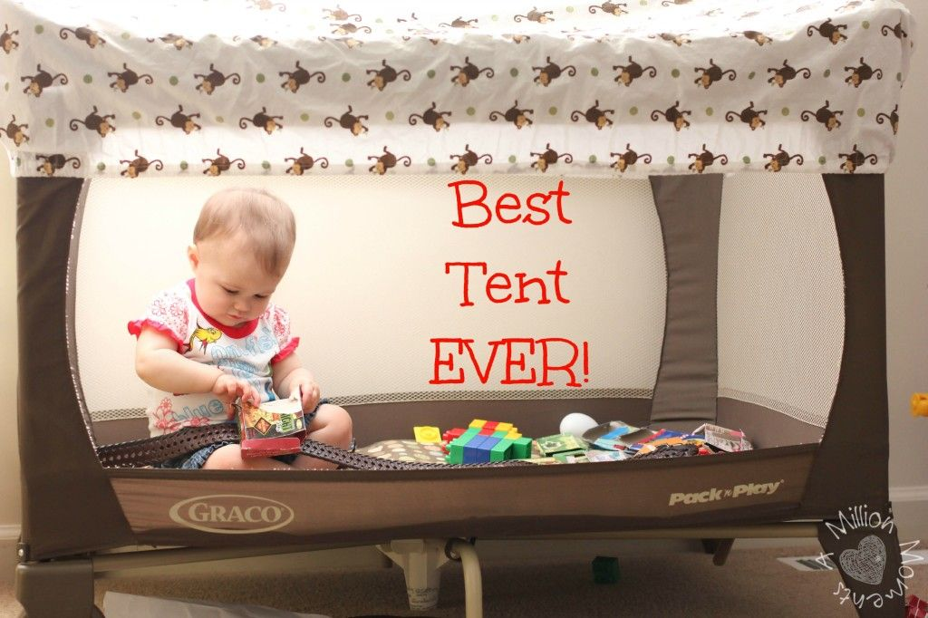 DIY Play Tent from a pack-n-play and a crib sheet super & DIY Play Tent from a pack-n-play and a crib sheet super easy ...