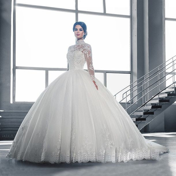 Long Sleeve Wedding Dress Quality Directly From China Ball Gown Dresses Suppliers C V High Neck Vestido De Noiva