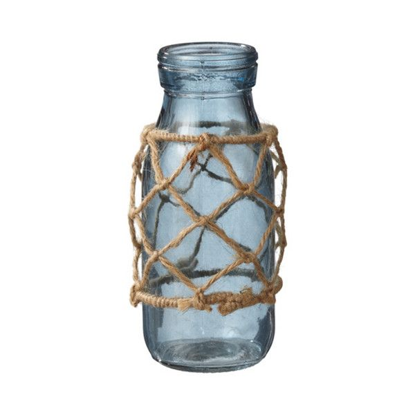 Dot & Bo Nice Catch Jar Vase in Blue ($13) ❤ liked on Polyvore featuring home, home decor, vases, fish home decor, blue glass vase, nautical theme home decor, blue vase and sun jar