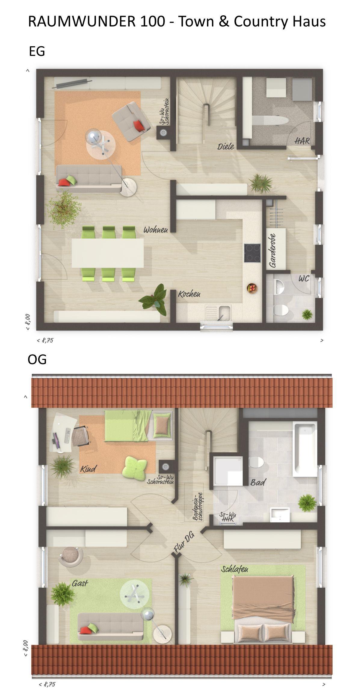 Grundriss Einfamilienhaus quadratisch mit Klinker Fassade