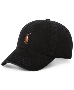 d2cf5bcaa Polo Ralph Lauren Men's Stretch Denim Baseball Cap - Black Denim ...