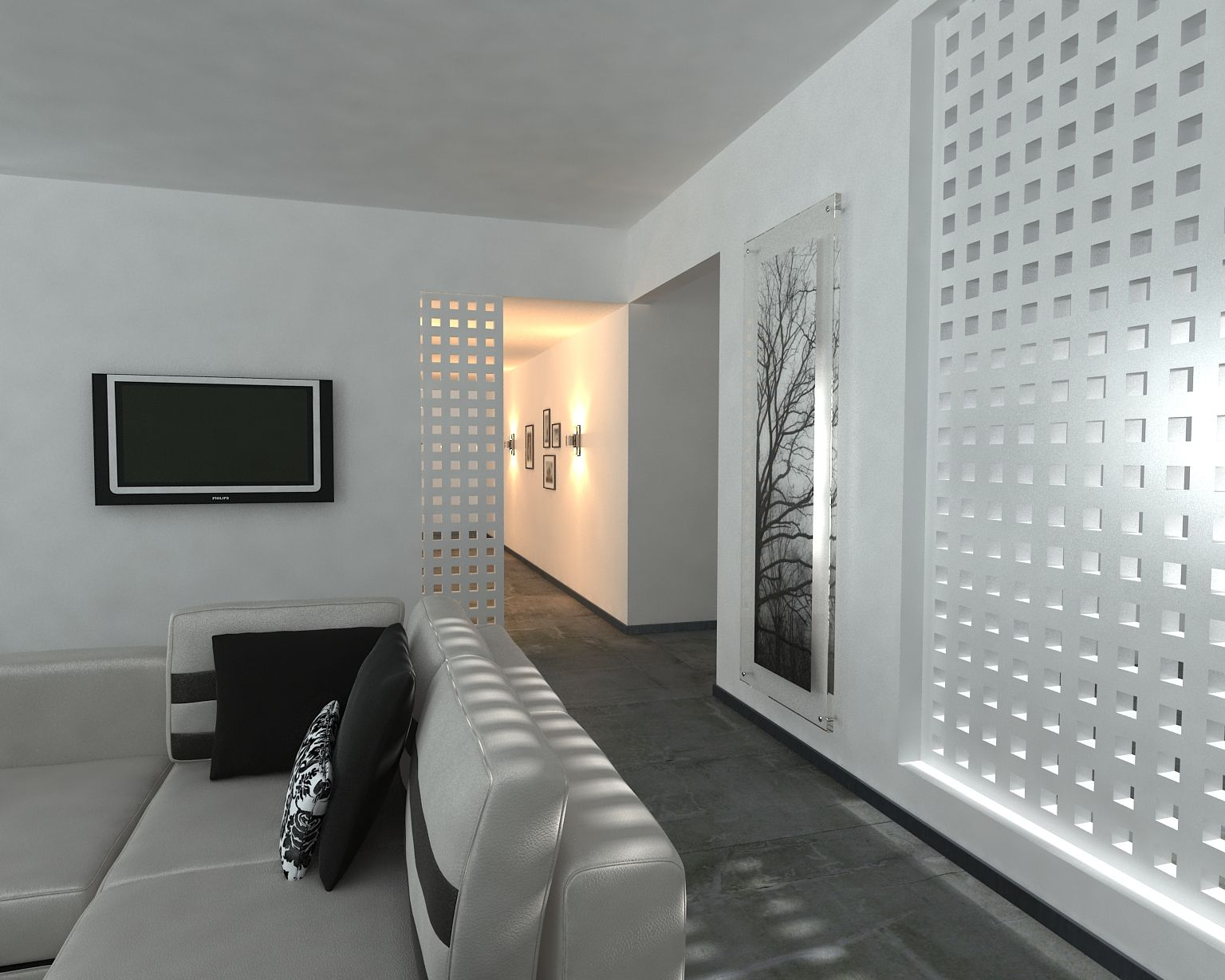 Smart partition made with famastyl wooden panel un for Pared que deja pasar la luz
