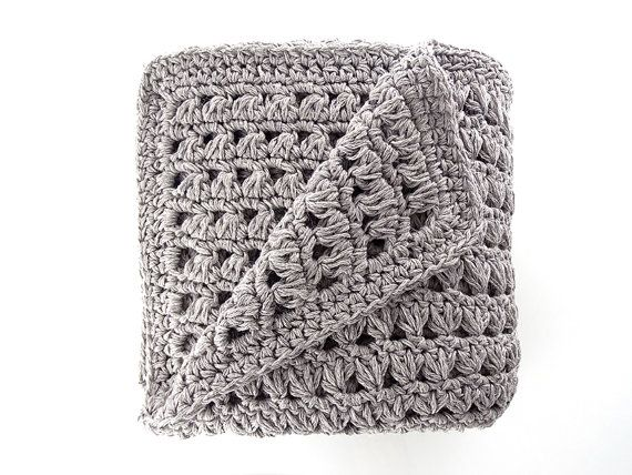 Crochet Baby Blanket  Grey Coverlet  Cotton Wool Plaid