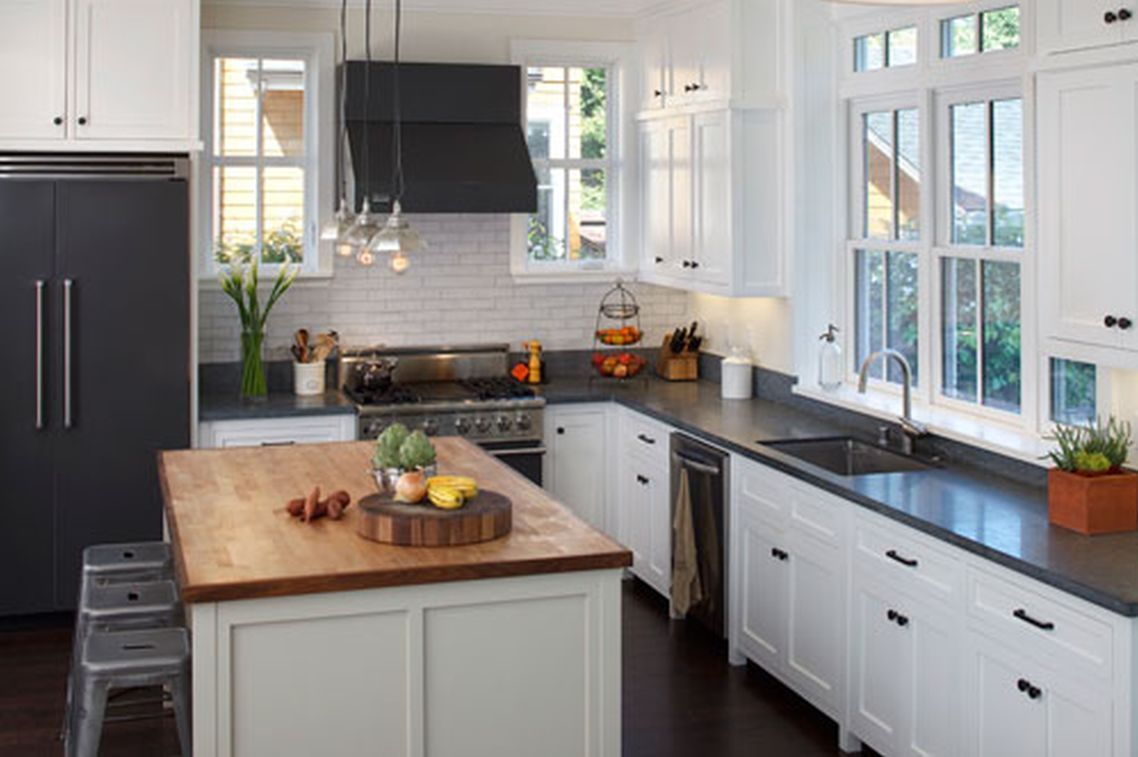 Quartz Countertop Magnificent Fresh Looking White Kitchen Granite Samples Interior With Black And Theme On Cabinet Grey Marble Rustic Designing Rustic Wood Dining Table, Remodeling Of The Rustic Kitchen Style On Wood Countertops: Kitchen