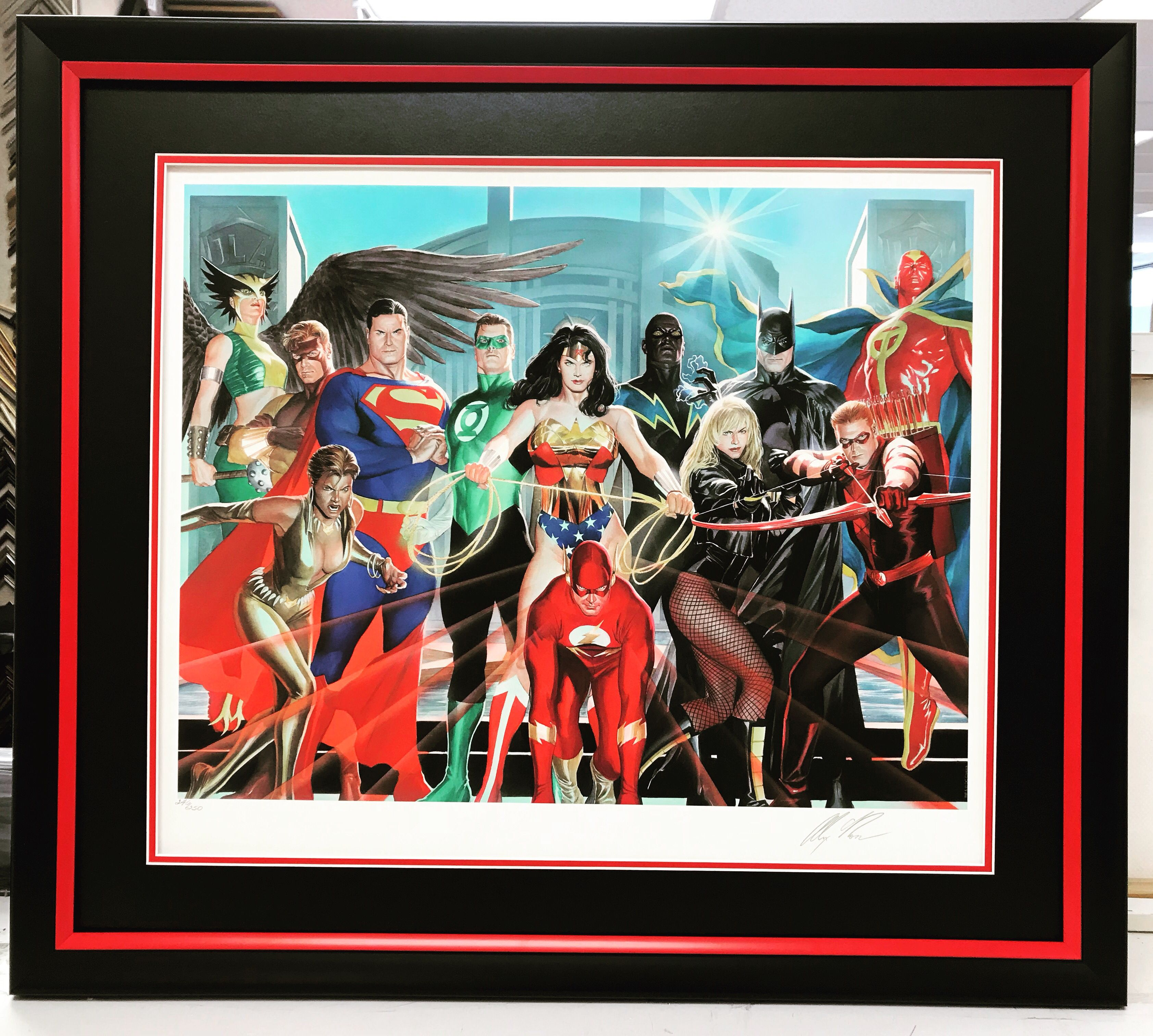 Dc comic heroes in custom frame canvas photography