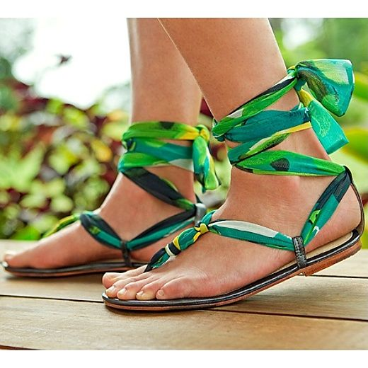 Ribbon Ankle Wrap Sandals