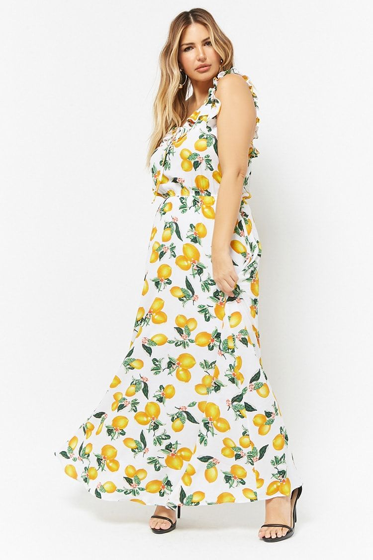 81fb4ff9868 Product Name Plus Size ETA Lemon Print Ruffle-Trim Maxi Dress ...