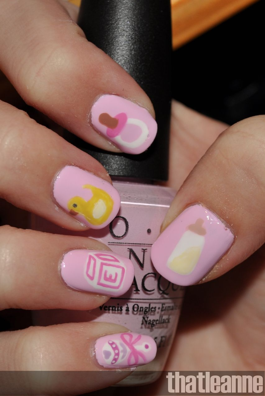 Baby Girl Theme Nail Art Nails Pinterest Baby Girl Themes