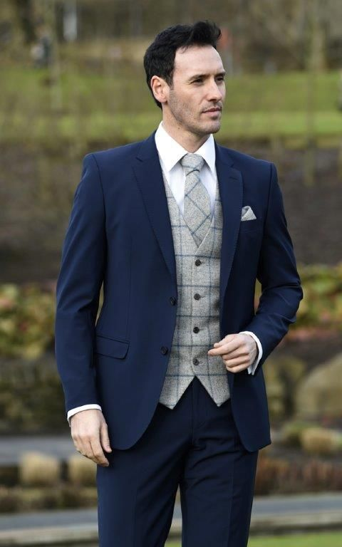Slim fit navy 2 piece with grey tweed waistcoat and matching tie ...