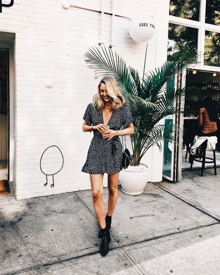 Cute black and white print dress with black booties.