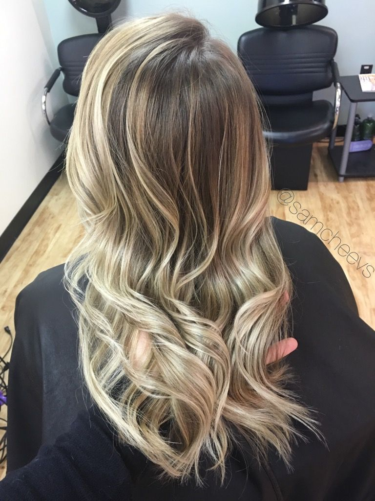 Natural Blonde Balayage Highlights With Shades Of Icy Pale