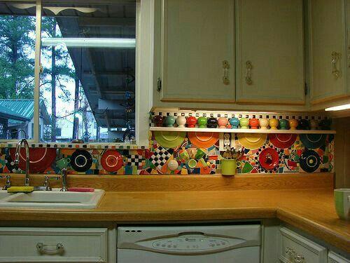 Broken Fiestaware Mosaic Backsplash Kitchen Mosaic Kitchen