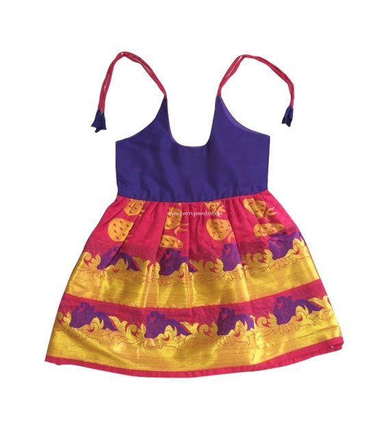 18abb4fdf Pattu Pavadai Just Born Babies Pure Silk Frock Violet and Pink for ...