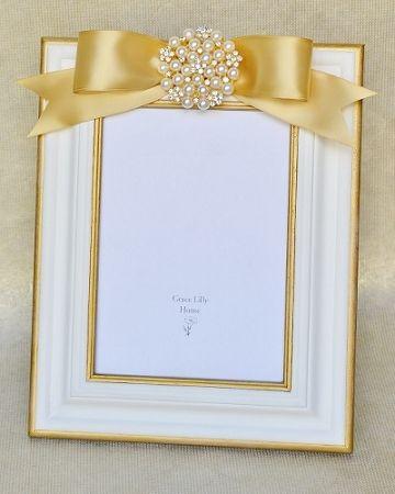 Wedding Picture Frame Ivory 5x7 8x10 Embellished With Rhinestones