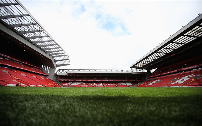 Download wallpapers Anfield, Liverpool stadium, 4K, football stadium, Liverpool, England, Liverpool FC