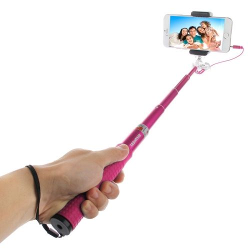 HAWEEL Wire Control Extendable Handheld Selfie Monopod with Tripod Holder & Clamp Mount for iPhone 6 & 6 Plus / Samsung / HTC, Max Length: 81cm(Magenta)