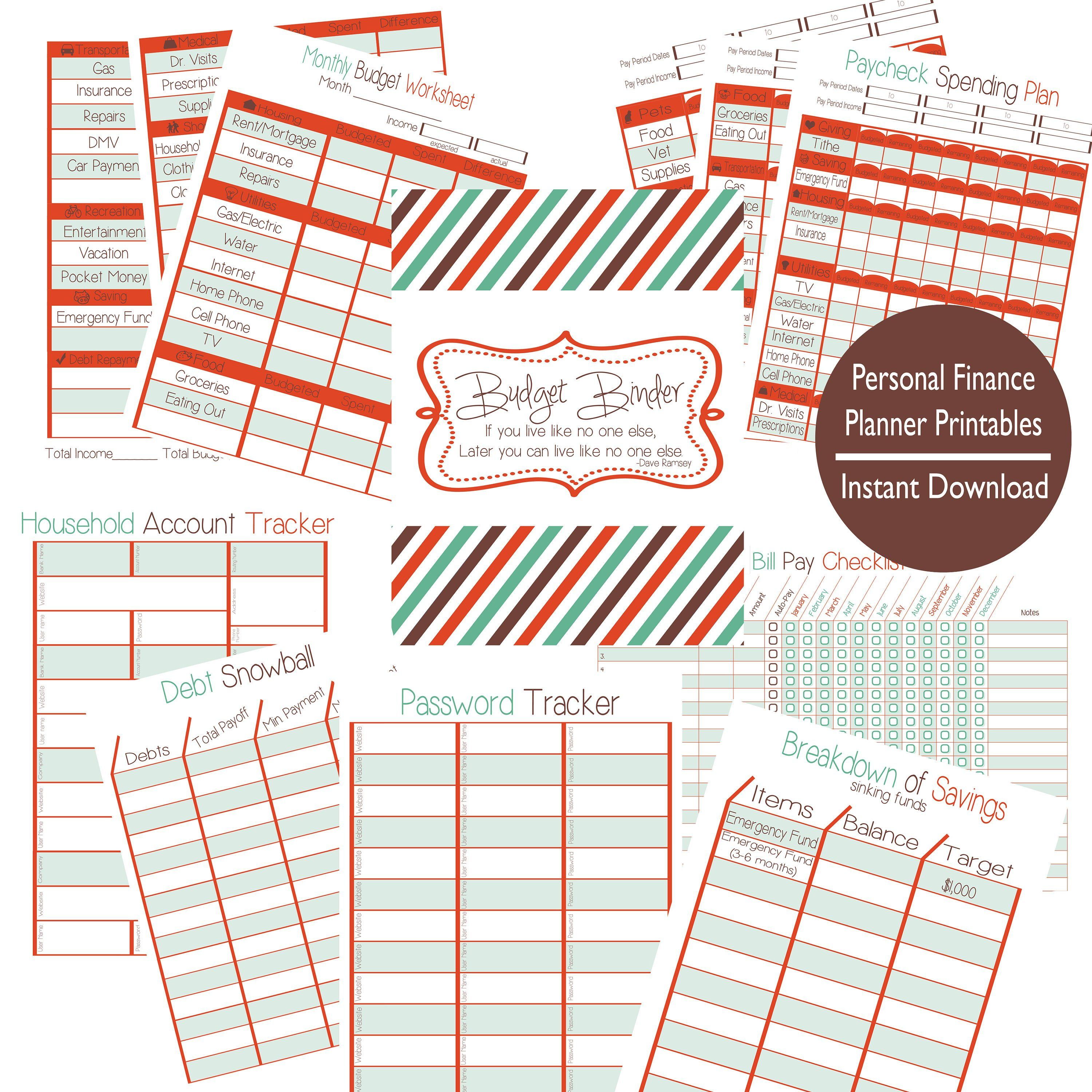 Personal Finance Complete Printable Kit Letter Size Budget