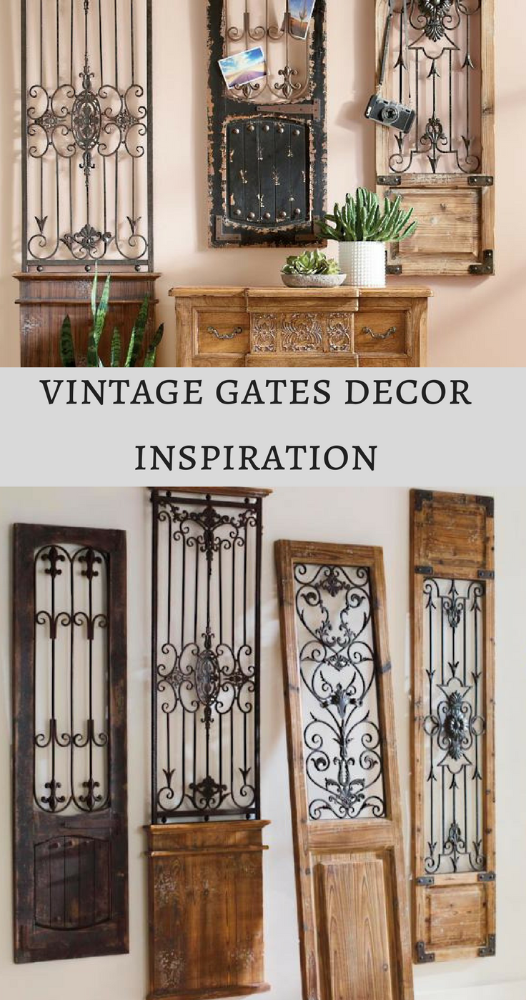 Vintage Gates Wall Art Is Crafted From Generously Distressed Wood And Metal Rustic Wooden Frames That Are Su Farmhouse Wall Decor Wood And Metal Vintage House