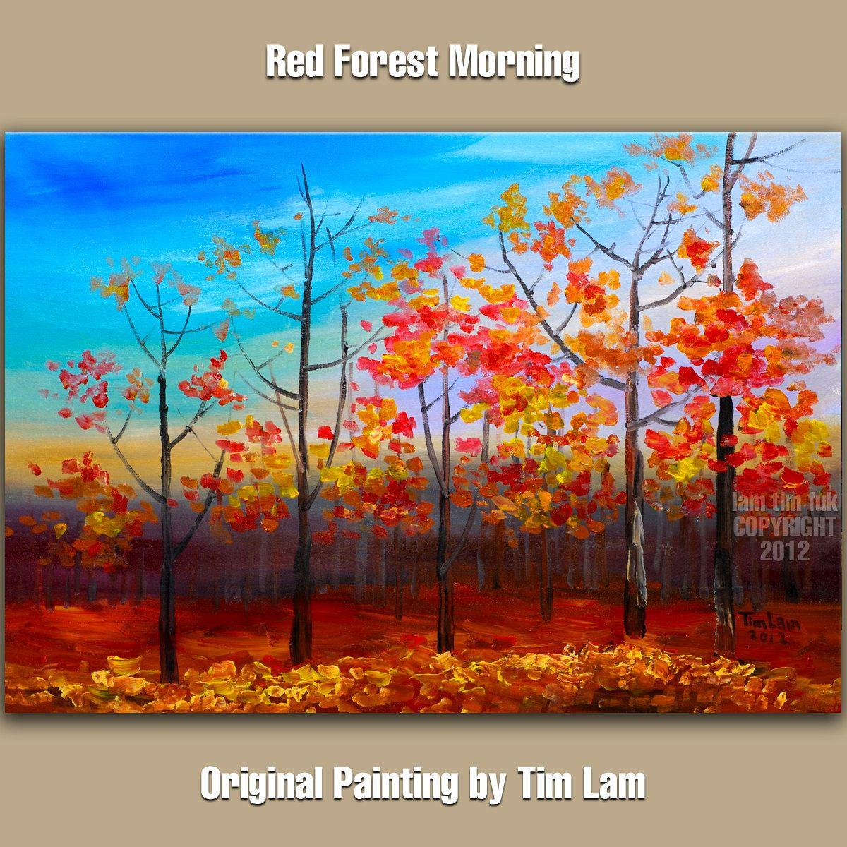 Original Acrylic Painting Fall Forest Aspen Tree Art Impasto Texture Landscape Abstract Modren
