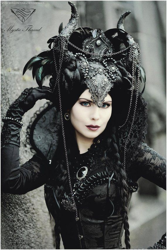 Black brocade gothic victorian costume vampire queen neck collar decorated with black lace details and crystal gems