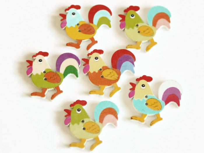 SEWING 10 X RABBIT SHAPED WOOD MIXED COLOURS BUTTONS-SCRAP BOOKING