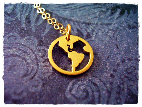 Gold world map necklace 24kt gold dipped by evelynmaecreations gold world map necklace 24kt gold dipped by evelynmaecreations gumiabroncs Image collections