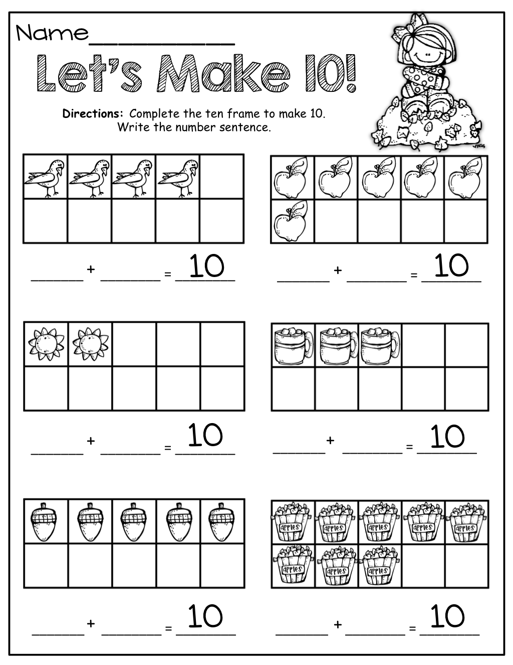 The Moffatt Girls Fall Math And Literacy Packet Kindergarten Fall Math Kindergarten Math Ten Frames Kindergarten