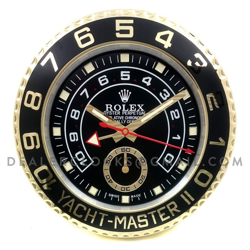 Yacht master ii black dial in gold sporty clock and the ojays dealer display wall clock based on the sporty and elegant rolex yacht master ii in amipublicfo Images