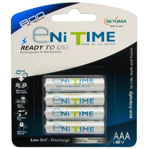Yuasa 4 Pack Enitime 800mah Aaa Nimh Rechargeable Batteries By Yuasa 8 25 Yuasa Enitime Aaa Batteries Provide Superb Amo Yuasa Nimh Rechargeable Batteries