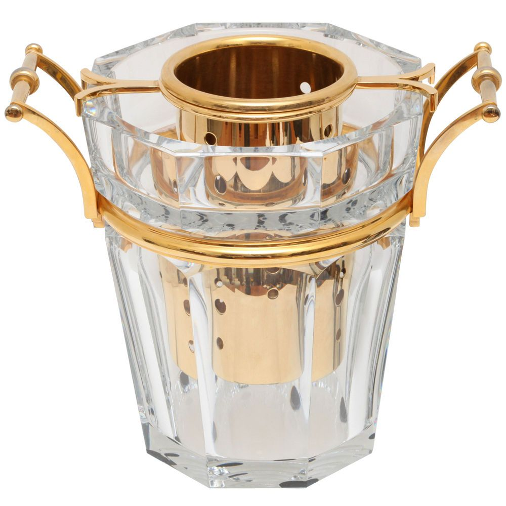 """Cutcrystal glass """"Moulin Rouge"""" champagne bucket with gilt fittings by Baccarat, France"""
