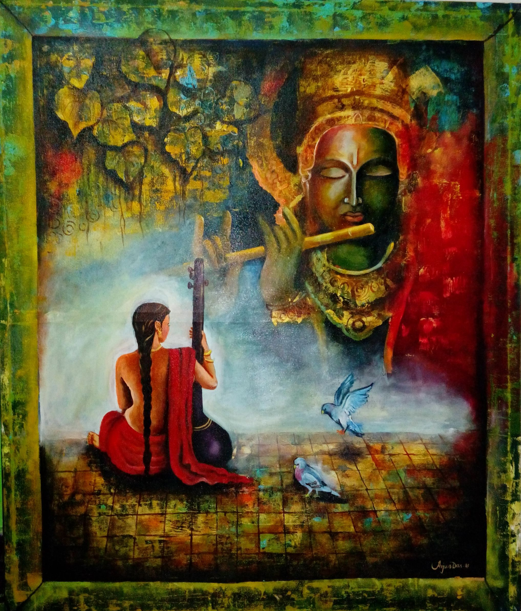 This painting depicts Meera and Lord Krishna. Meera ...