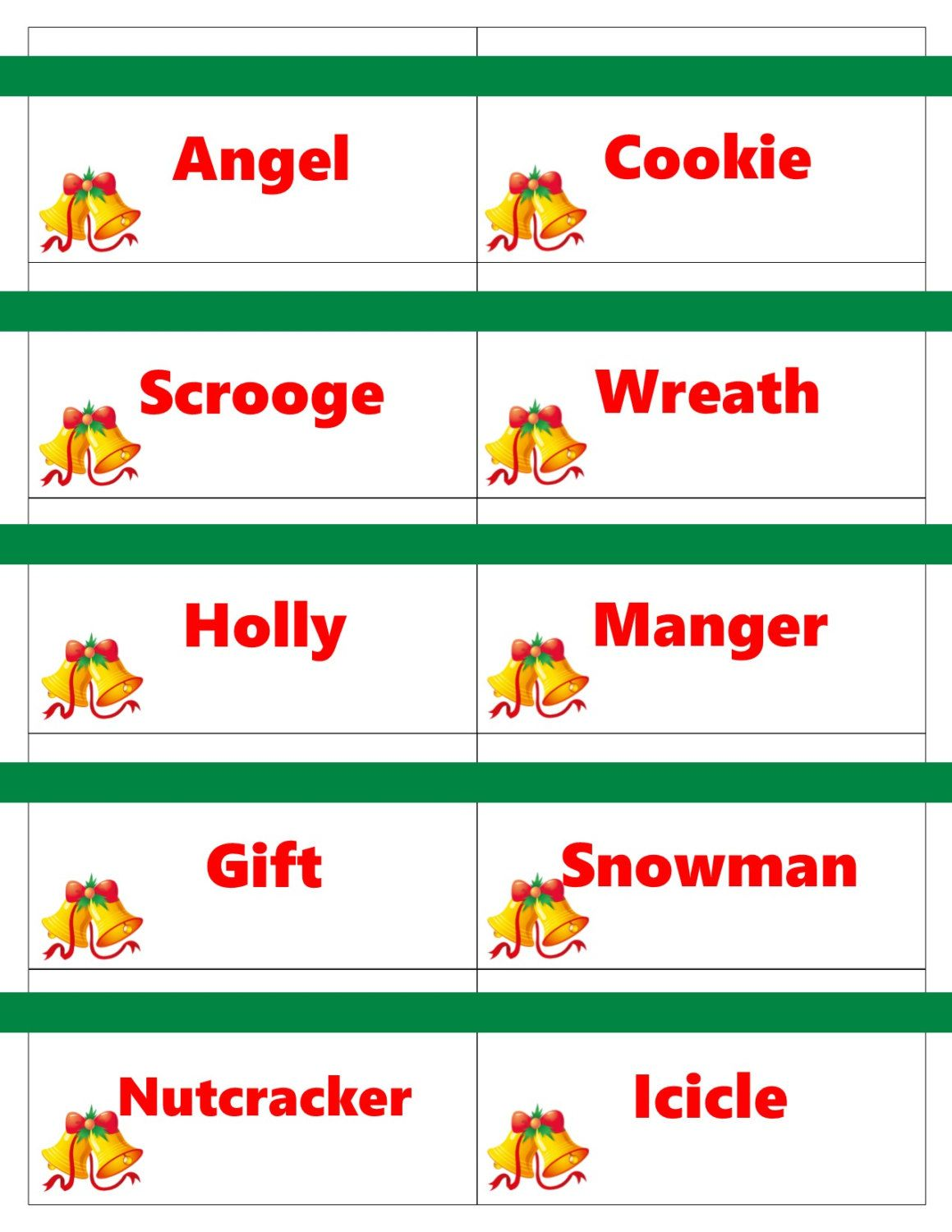 Printable Christmas Game Cards For Pictionary Or Charades Hangman Or 20 Questions Instant