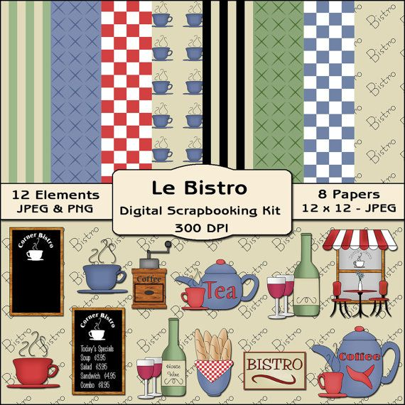 Le Bistro Restaurant Digital Scrapbooking Kit