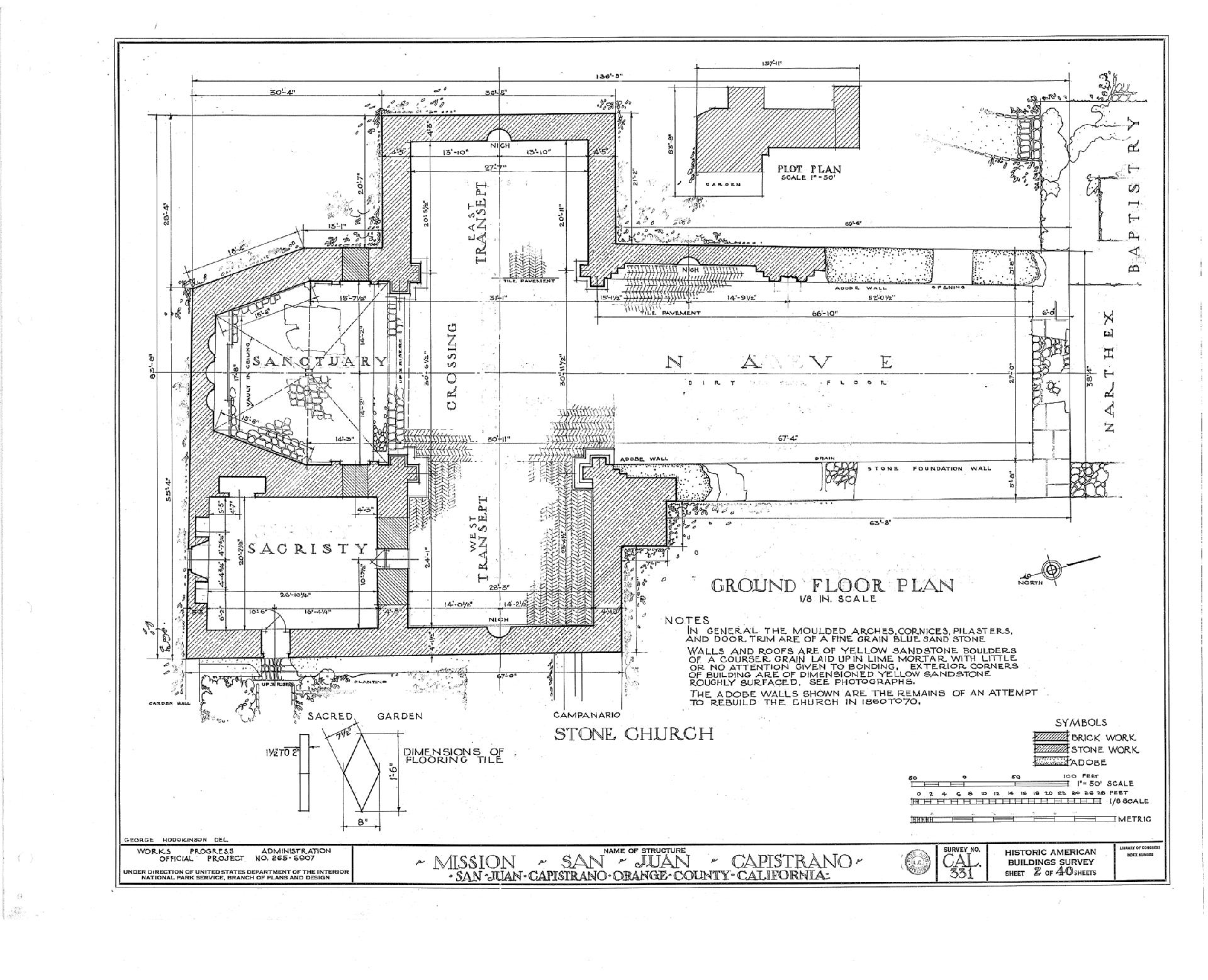 Mission San Juan Capistrano The Floor Plan Of The Great Stone Church Produced By The Historical A Mission San Juan Capistrano Floor Plans San Juan Capistrano