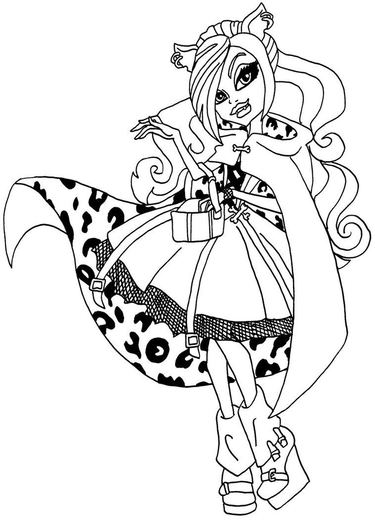 monster high clawdeen wolf little dead riding wolf outfit coloring page - Monster High Coloring Pages