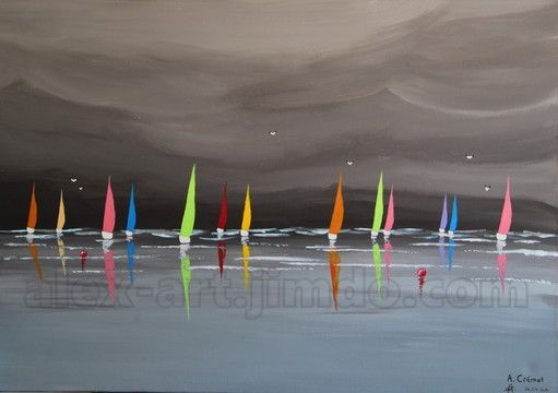 Voiliers sous l 39 orage france peinture acrylique sur toile 1m x 65cm alexis cr met toile for Peinture acrylique sur toile
