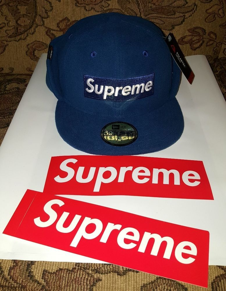 Supreme New Era Polartec hat 7 1 4 Navy Blue w Red Box Logo sticker ... c3540918eec