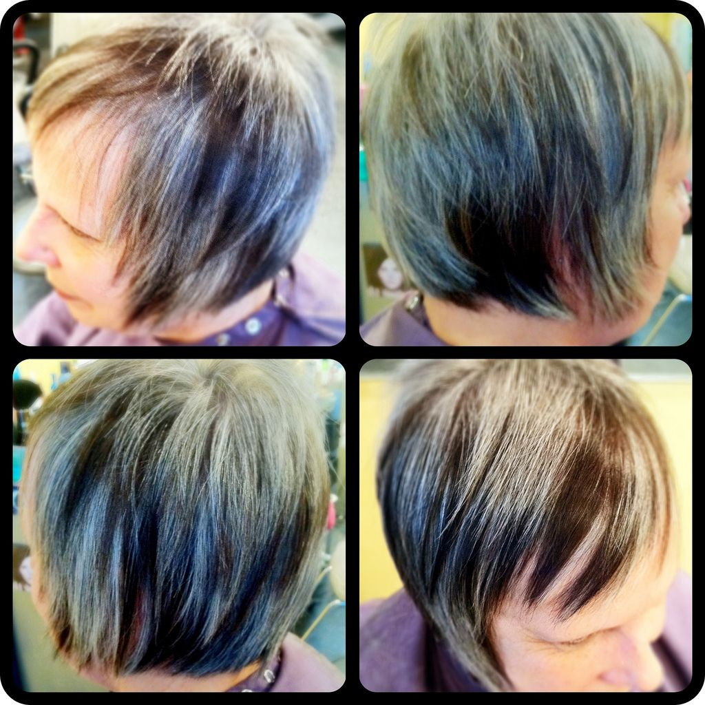 Highcontrast chocolate brown lowlights in natural gray hair with