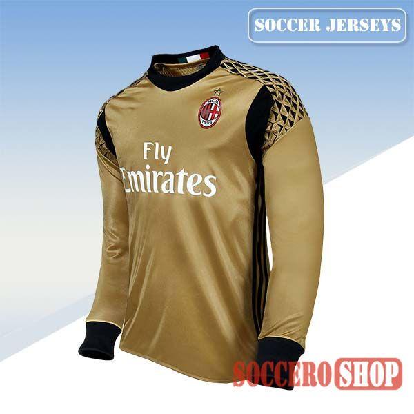 Top Selling New Top Quality Ac Milan 2016 2017 Season Soccer Goalkeeper Jerseys Long Sleeve Yellow Camisa De Futbol Camisetas Camisetas Retro
