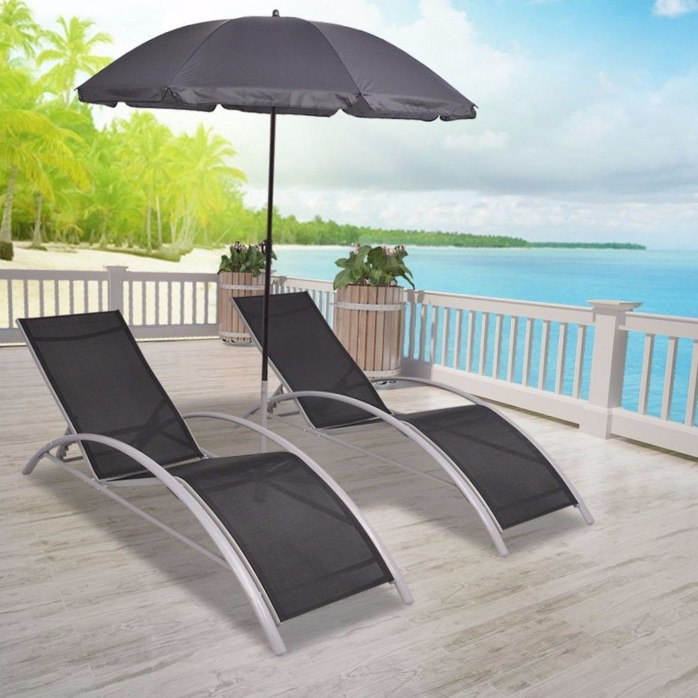 Black Lounger Set Outdoor Deck Chair Patio Sunbed Parasol Beach