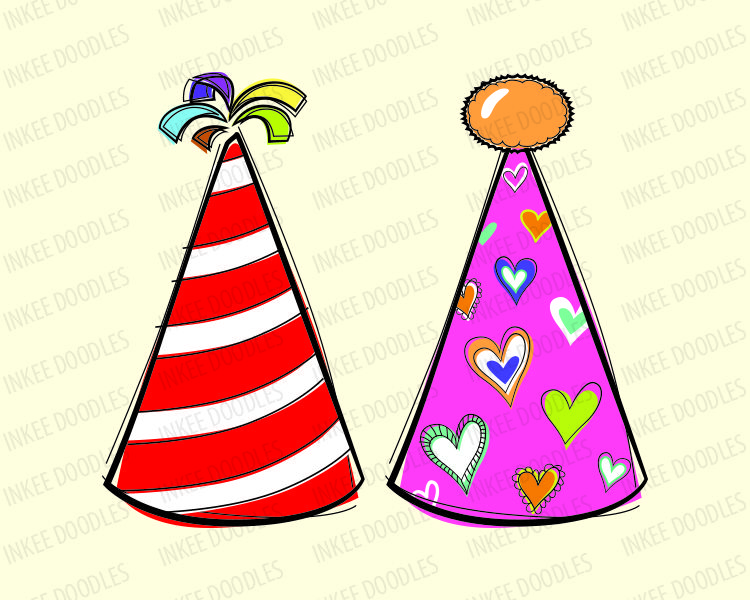 Doodles Party Hats -Cute kids birthday celebration clip art for ...