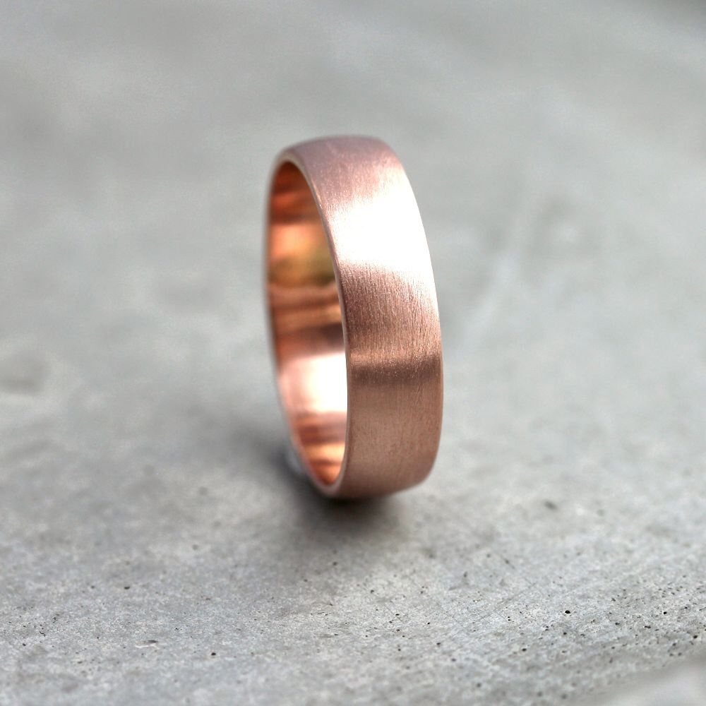 Wide Rose Gold Men S Wedding Band Recycled 14k 6mm Brushed Low Dome Man Ring Made In Your Size By Theslyfox On Etsy