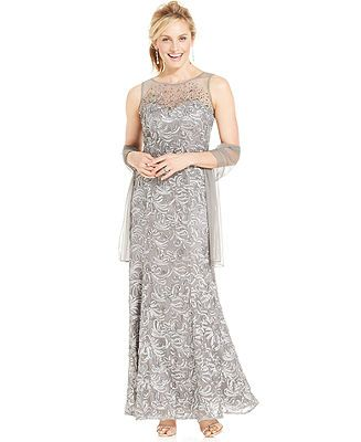 2dbe7f8b2b0bf Ignite Beaded Illusion Embroidered Gown and Shawl - Wedding Dresses - Women  - Macy s