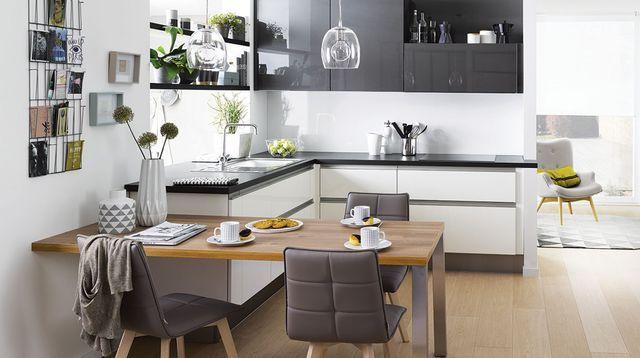 Plan de cuisine en l 8 exemples pour optimiser l 39 espace for Plan cuisine ouverte 9m2