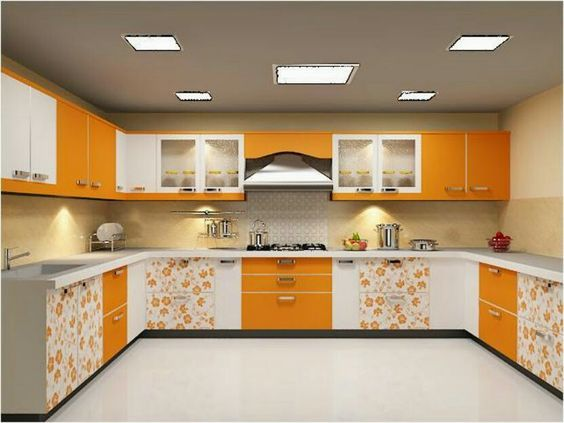Modular Kitchen Space In Bright Orange Colour Orange And Yellow