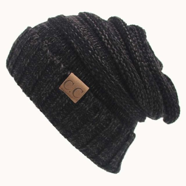 e44d2cae912 Women Men Winter Knitted Wool Cap Unisex Folds Casual CC labeling Beanies  Hat Solid Color Hip-Hop Skullies Beanie Hat Gorros