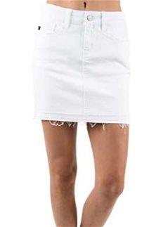 c0a506bf1a76 KanCan Jeans White Denim Released Hem Skirt for Women KC6062WT ...