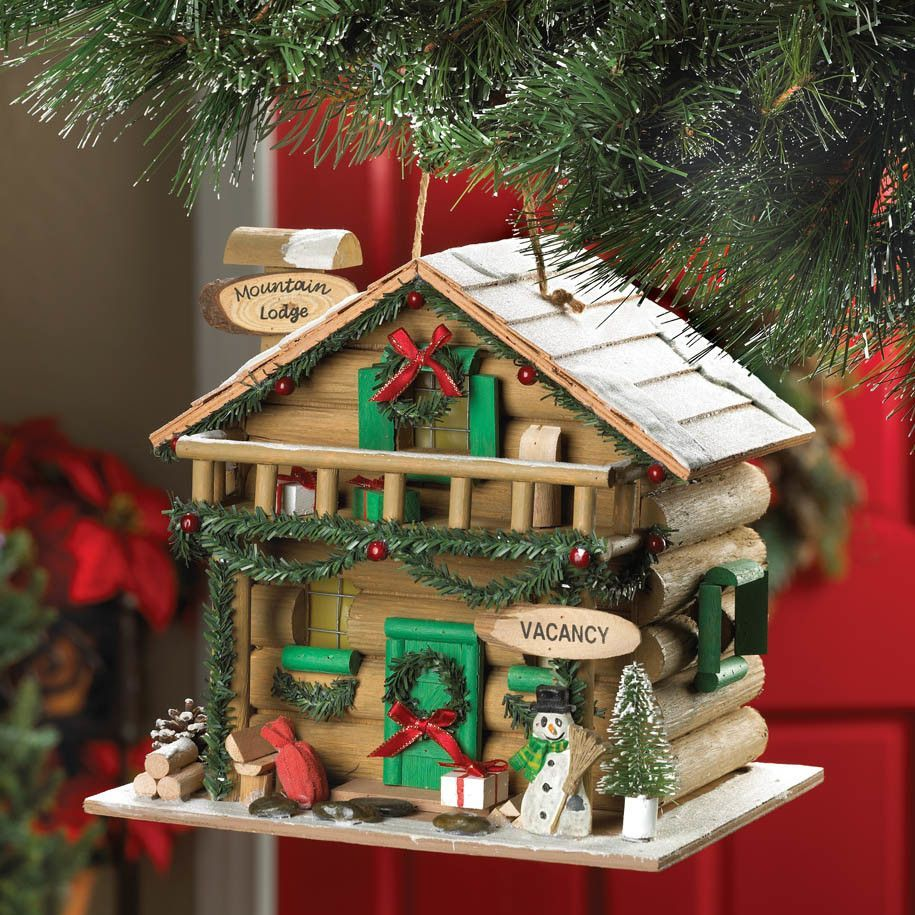 Holiday Mountain Lodge Hanging Birdhouse