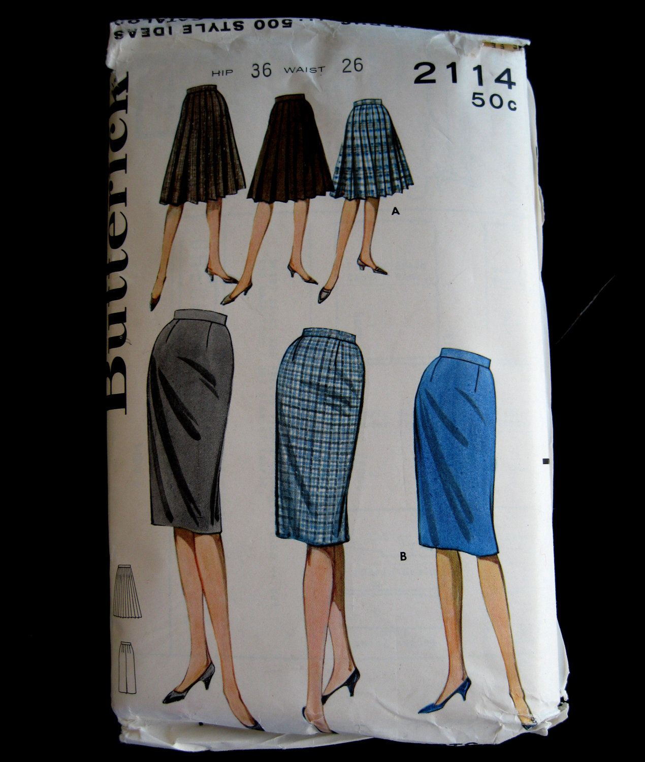 Butterick 2114 1960s Misses Skirt Pattern Waist 26  Straight or Pleated UNCUT FF Proportioned Pattern, Short, Medium, Tall, Vintage 1961. $10.00, via Etsy.